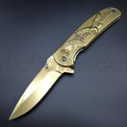PK88 One Hand Knife Semiautomatic - Pocket Knives GOLD USA