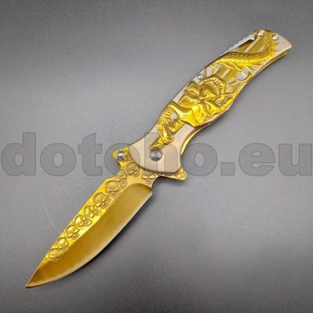 PK62 Semi-Automatic Pocket Knife Golden Skull